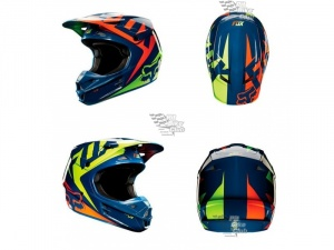 Мотошлем Fox V1 Race Helmet Navy/Yellow L (11042-046-L)