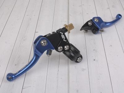 Рычаги сцепления и тормоза ASV replica синие короткие фото 1