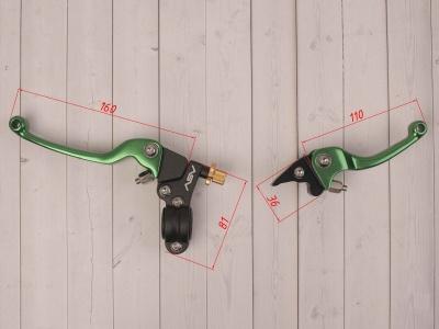 Рычаги сцепления и тормоза ASV replica зеленые длинные фото 3