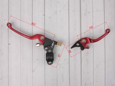 Рычаги сцепления и тормоза ASV replica красные длинные фото 3