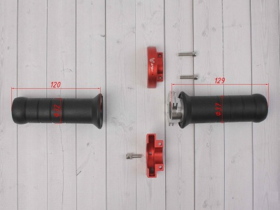 Ручка газа для питбайка c грипсами на подшипниках комплект CNC красная фото 3