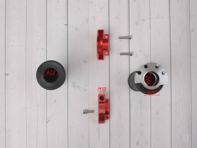 Ручка газа для питбайка c грипсами на подшипниках комплект CNC красная фото 5