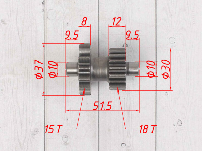 Шестерня промежуточная электростартера KAYO двиг. YX CB250 (воздушный)  CN фото 5