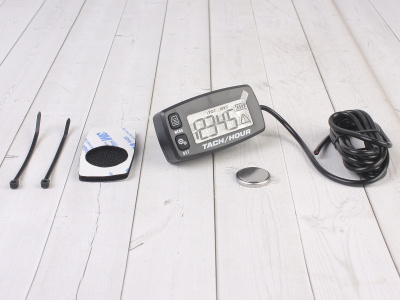 Счетчик моточасов/тахометр (подсветка, смен. батарея) SM-PARTS SMP-032R черный фото 1