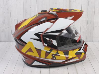 Шлем (мотард) Ataki JK802 Rampage коричневый/желтый глянцевый   M фото 7