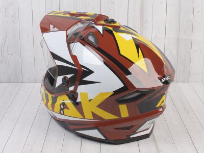 Шлем (мотард) Ataki JK802 Rampage коричневый/желтый глянцевый   M фото 13
