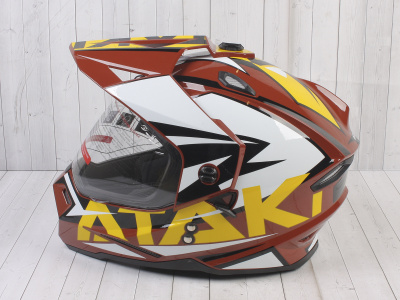 Шлем (мотард) Ataki JK802 Rampage коричневый/желтый глянцевый   M фото 15