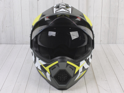 Шлем (мотард) Ataki JK802 Rampage Hi-Vis желтый/серый матовый    S фото 3