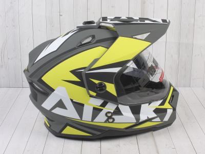 Шлем (мотард) Ataki JK802 Rampage Hi-Vis желтый/серый матовый    S фото 7