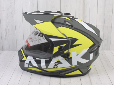 Шлем (мотард) Ataki JK802 Rampage Hi-Vis желтый/серый матовый    S фото 15