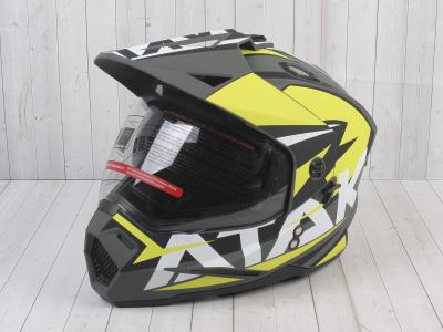 Шлем (мотард) Ataki JK802 Rampage Hi-Vis желтый/серый матовый  XL фото 1