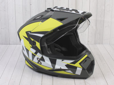 Шлем (мотард) Ataki JK802 Rampage Hi-Vis желтый/серый матовый  XL фото 5