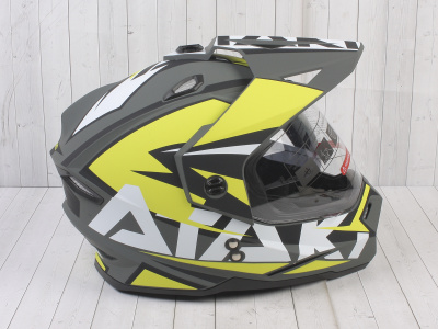 Шлем (мотард) Ataki JK802 Rampage Hi-Vis желтый/серый матовый  XL фото 7