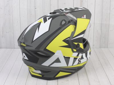 Шлем (мотард) Ataki JK802 Rampage Hi-Vis желтый/серый матовый  XL фото 9