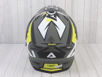 Шлем (мотард) Ataki JK802 Rampage Hi-Vis желтый/серый матовый  XL фото 11
