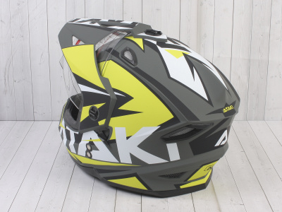 Шлем (мотард) Ataki JK802 Rampage Hi-Vis желтый/серый матовый  XL фото 13