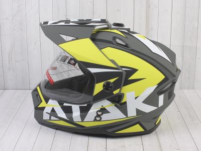 Шлем (мотард) Ataki JK802 Rampage Hi-Vis желтый/серый матовый  XL фото 15