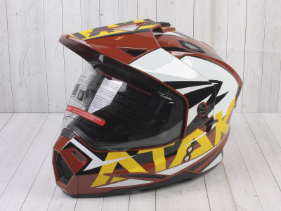 Шлем (мотард) Ataki JK802 Rampage коричневый/желтый глянцевый    S фото 1