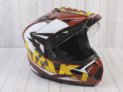 Шлем (мотард) Ataki JK802 Rampage коричневый/желтый глянцевый    S фото 5
