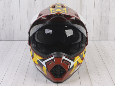 Шлем (мотард) Ataki JK802 Rampage коричневый/желтый глянцевый  L фото 3