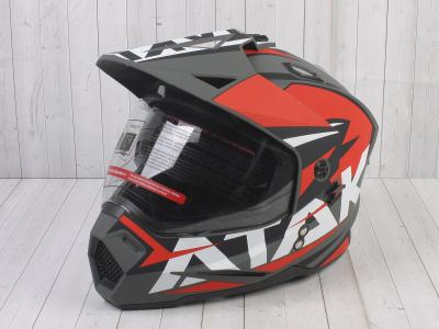 Шлем (мотард) Ataki JK802 Rampage красный/серый матовый    S фото 1