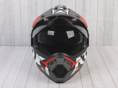 Шлем (мотард) Ataki JK802 Rampage красный/серый матовый    S фото 3
