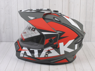Шлем (мотард) Ataki JK802 Rampage красный/серый матовый    S фото 15