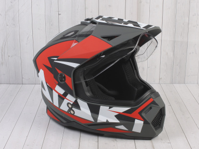 Шлем (мотард) Ataki JK802 Rampage красный/серый матовый  XL фото 5