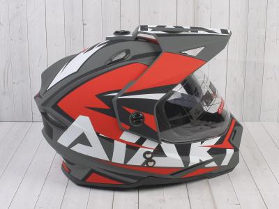 Шлем (мотард) Ataki JK802 Rampage красный/серый матовый  XL фото 7