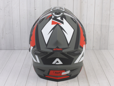 Шлем (мотард) Ataki JK802 Rampage красный/серый матовый  XL фото 11