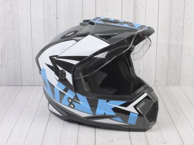 Шлем (мотард) Ataki JK802 Rampage серый/синий глянцевый    S фото 5