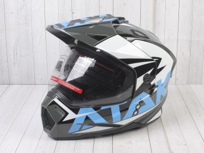 Шлем (мотард) Ataki JK802 Rampage серый/синий глянцевый   M фото 1