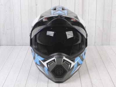 Шлем (мотард) Ataki JK802 Rampage серый/синий глянцевый   M фото 3
