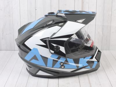 Шлем (мотард) Ataki JK802 Rampage серый/синий глянцевый   M фото 7