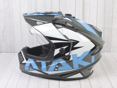 Шлем (мотард) Ataki JK802 Rampage серый/синий глянцевый   M фото 15