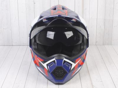 Шлем (мотард) Ataki JK802 Rampage синий/красный глянцевый  XL фото 3