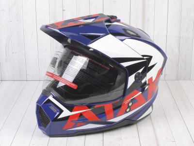 Шлем (мотард) Ataki JK802 Rampage синий/красный глянцевый   M фото 1
