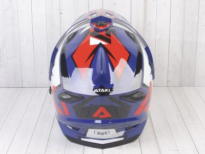 Шлем (мотард) Ataki JK802 Rampage синий/красный глянцевый   M фото 11
