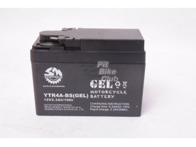Аккумулятор для питбайка  OUTDO гелевый  YTR4A-BS Slim Honda (114,3 x 48,2 x 85,8) фото 1