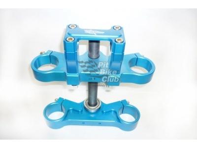 Траверса широкая 45/48мм CNC синяя под стандартный руль 22мм фото 1