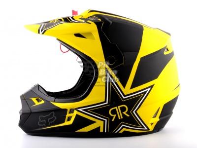 Шлем кроссовый Fox Racing V1 Rockstar ECE 2014, желто-черный фото 1