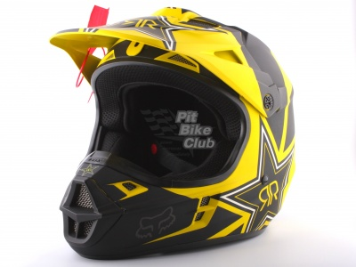 Шлем кроссовый Fox Racing V1 Rockstar ECE 2014, желто-черный фото 3