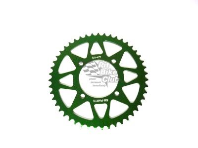 Звезда ведомая аллюминиевая питбайк 420-47T зеленая фото 1