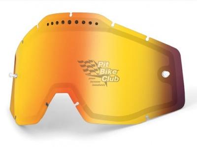 Линза 100% Racecraft/Accuri/Strata Vented Dual Pane Lens Anti-Fog Red Mirror (51006-003-02) фото 1