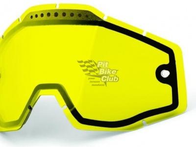 Линза 100% Racecraft/Accuri/Strata Vented Dual Pane Lens Anti-Fog Yellow (51006-004-02) фото 1