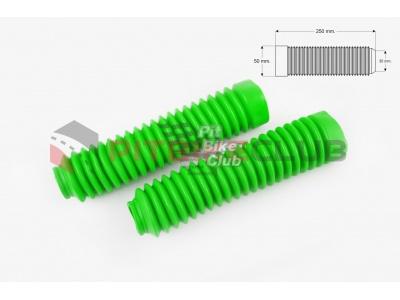 Гофры передней вилки (пара) универсальные L-250mm, d- 30mm, D-50mm (зеленые) KTO фото 1