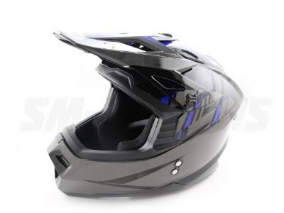 Шлем (кроссовый) Ataki MX801 Strike синий/черный глянцевый  L фото 5