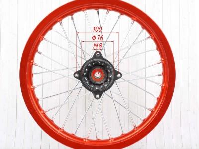 """Диск 14""""х1,85 задний диск. торм. алюминий KAYO оранжевый фото 5"""