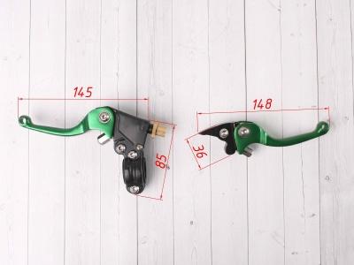 Рычаги сцепления и тормоза ASV replica зеленые короткие фото 3