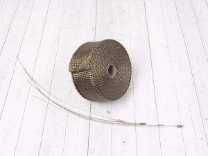 Термолента для обмотки выхлопной трубы 10м титановый цвет